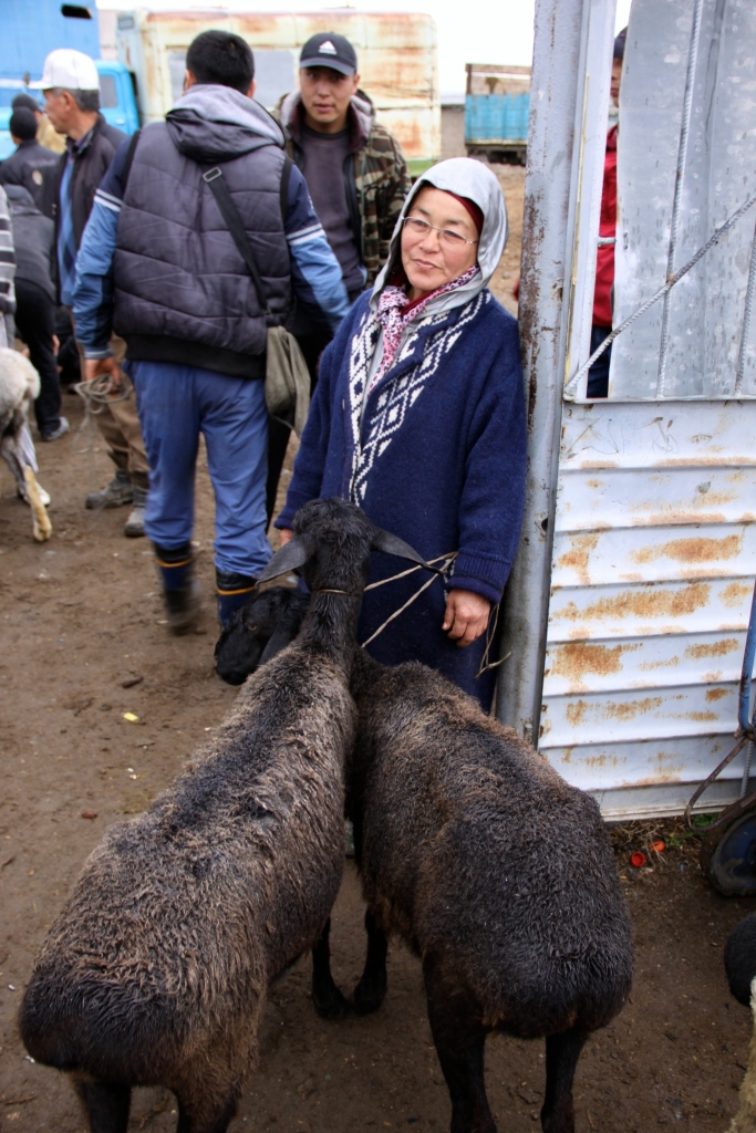 This lady tries to sell her two sheep