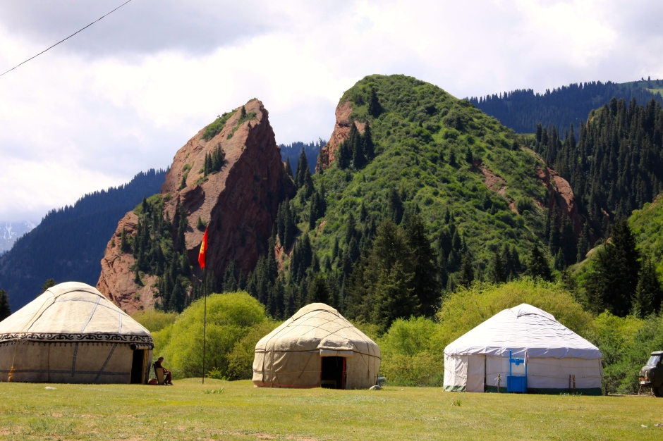 Broken Heart Rock with yurts in the foreground