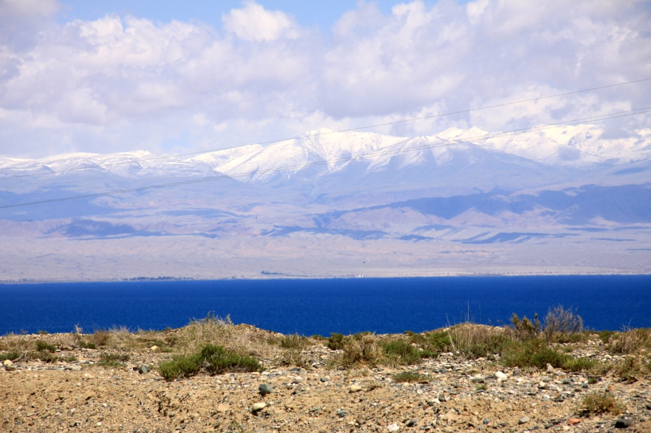 Looking across Issyk-Kul to the mountains on the northern side