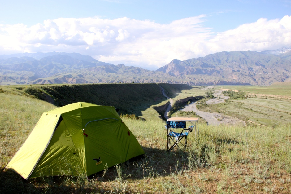 Camping on top of a ledge, overlooking the river