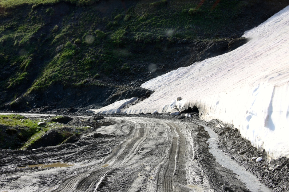 Melting snow creates muddy roads