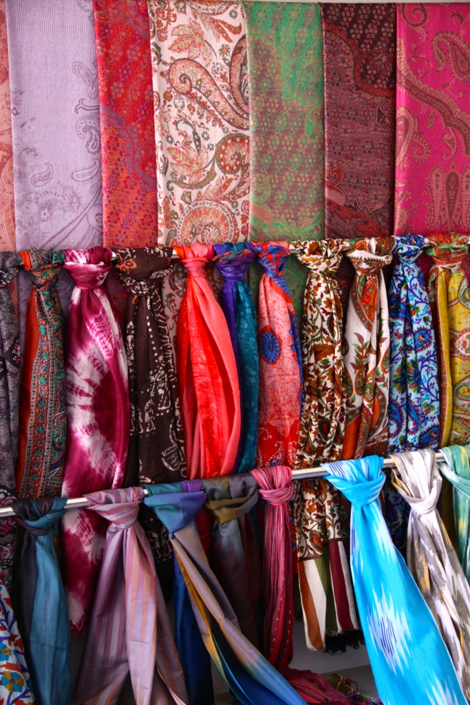 Silk scarves are for sale everywhere