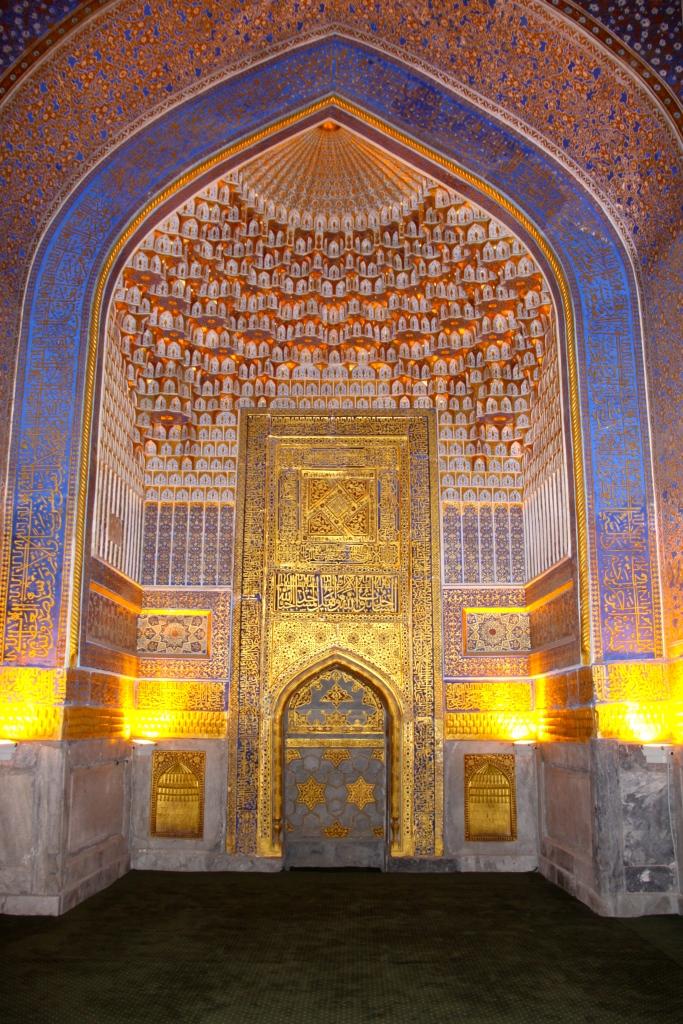 Inside one of the medresahs at the Registan