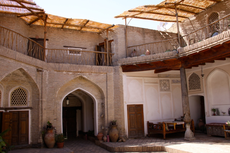 Inside the courtyard of the Amulet Hotel