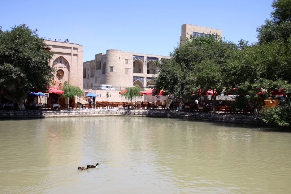 Nodir Divanbegi Pool, part of the Lyabi Khauz Ensemble in the centre of the old town. There are restaurants around the edge and the pond is lit up at night
