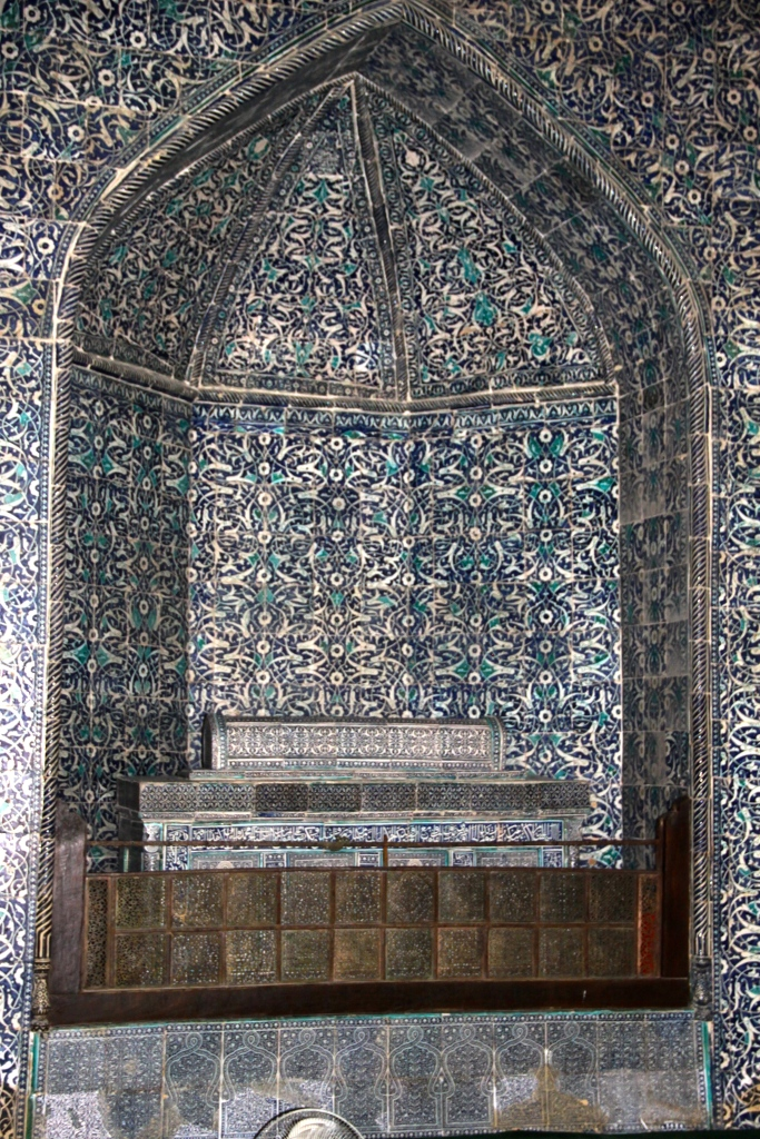 Intricate tiling on the walls inside the Pahlavon Mahmud Mausoleum