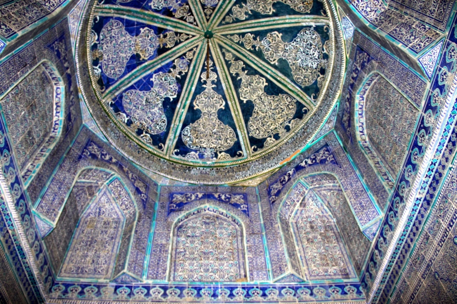 More tile-work inside a smaller building in the Pahlavon Mahmud Mausoleum complex