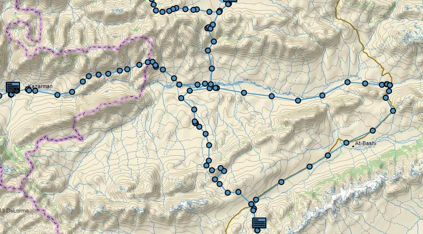 Route from Son-Kol - Tash Rabat - Naryn - Kazarman.