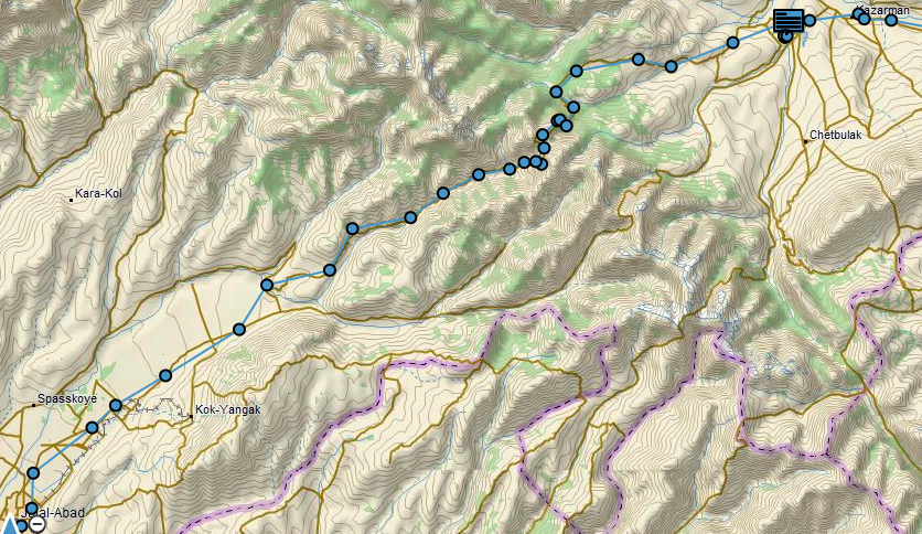 The route from Kazarman to Jalal-Abad