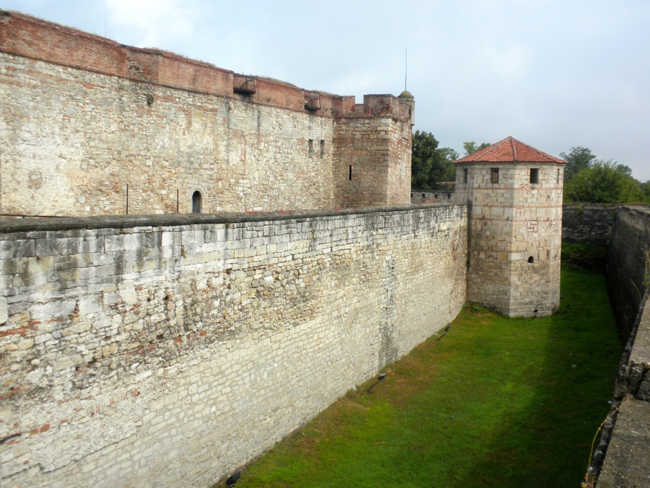 A moat and two surrounding walls