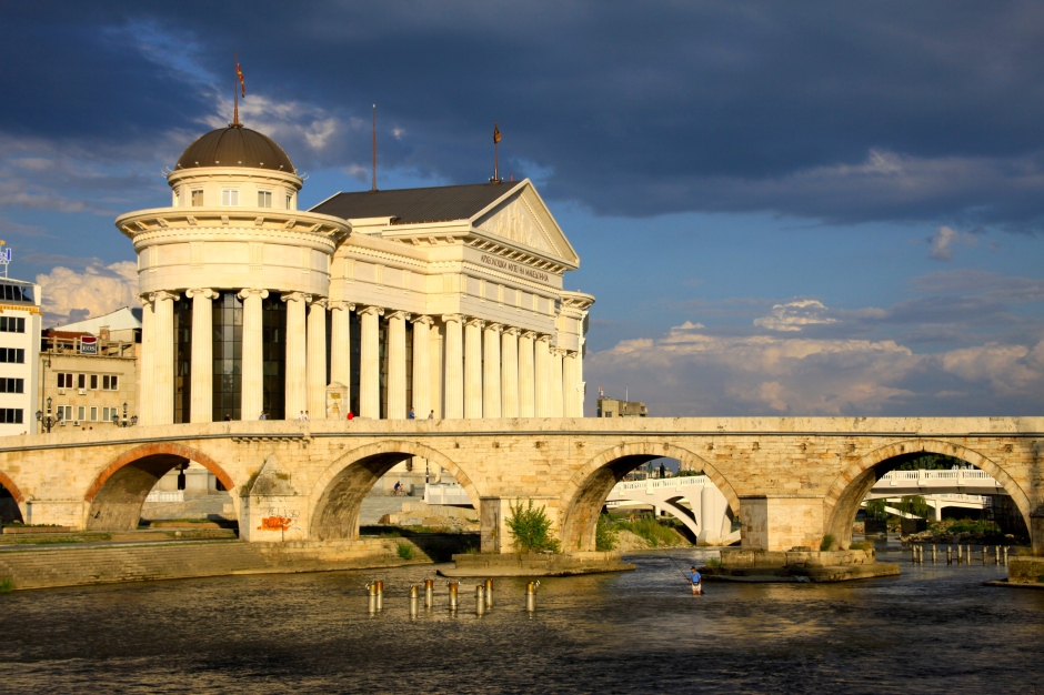 The Stone Bridge with the Archeological Museum of Macedonia behind (at left)