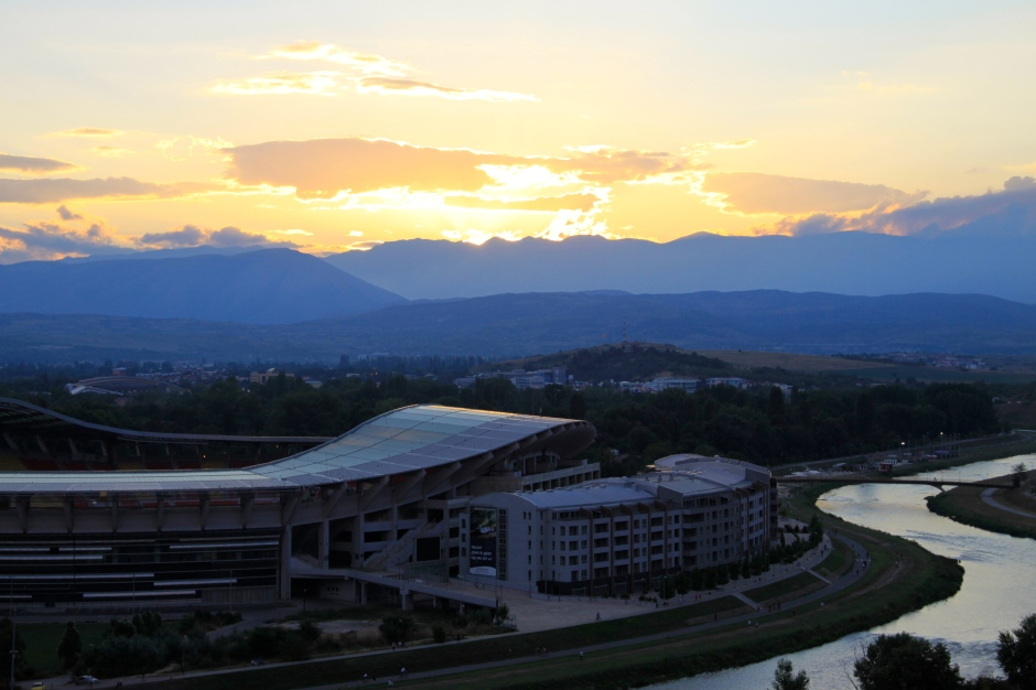 Sun setting over the sports stadium in Skopje