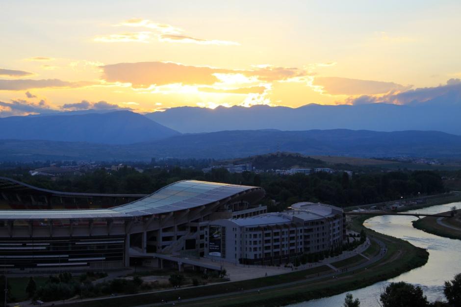 Sun setting over the sports stadium in Skopje