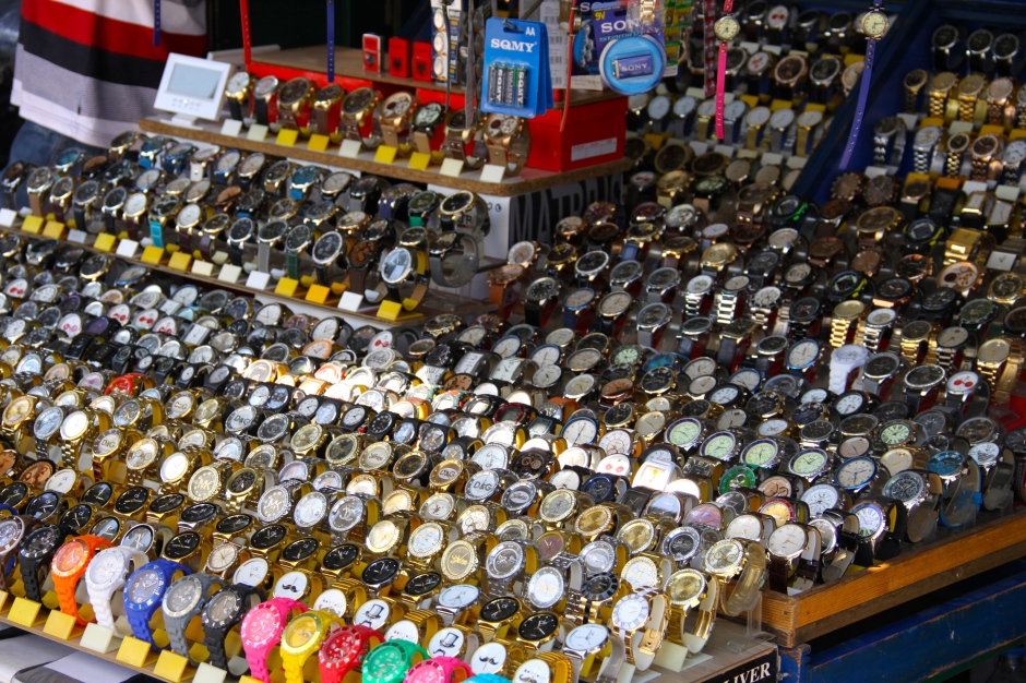 Market stall selling watches