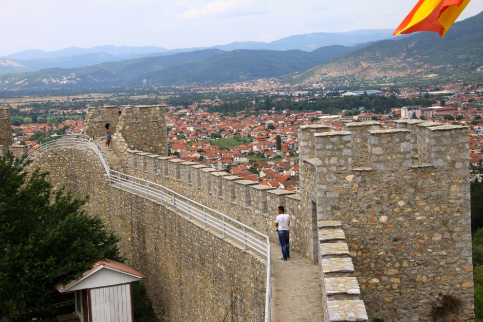 The walls of the fortress loom over Ohrid