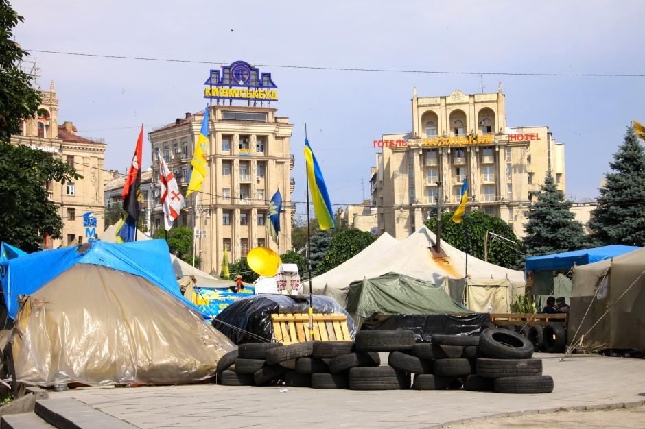 Protestor tents are still present at the Maidan
