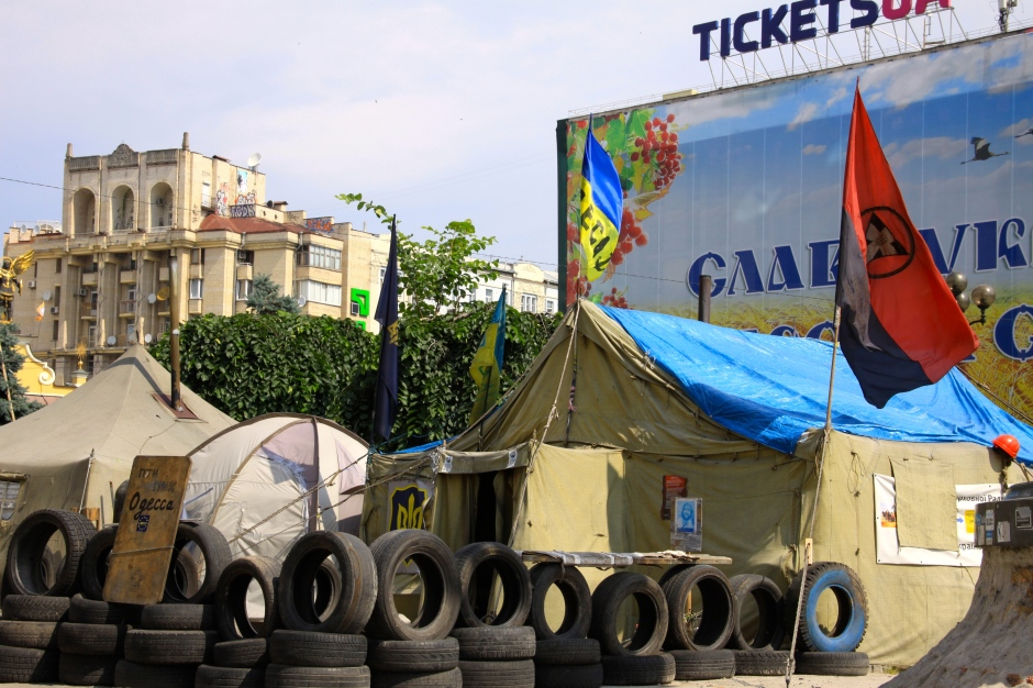 Ultranationalist Right Sector flag flying in the camps