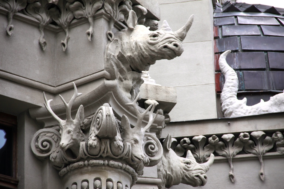 Rhino and deer heads (Gorodetsky was an avid hunter)