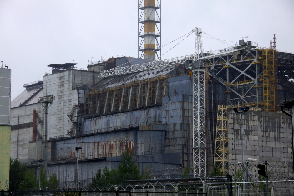 Reactor #4 and the old sarcophagus