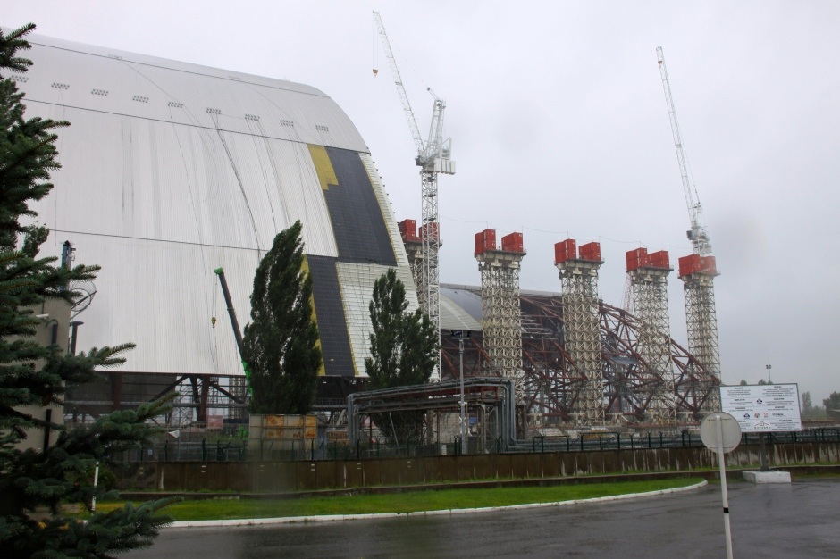 The two halves of the new sarcophagus under construction, next to Reactor #4