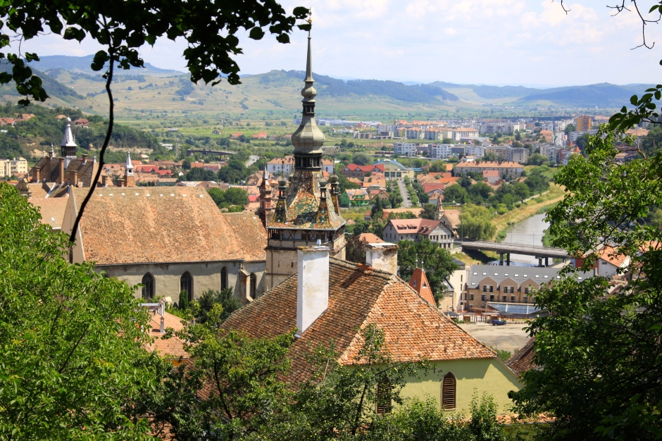 Part of the Citadel (foreground) and the newer part of Sighisoara down below