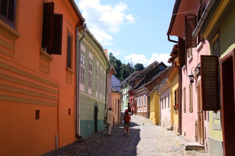 Colourful houses on narrow, cobbled streets