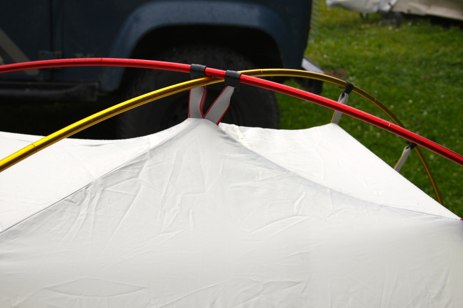 The tent clips onto the colour-coded poles for quick and easy set-up