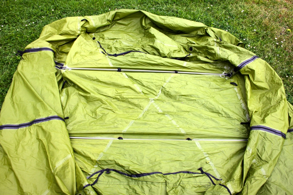 Two more poles add rigidity to the fly-sheet which fits over the inner tent. The fly-sheet also has two doors and extends beyond the inner tent, providing some additional storage space that is protected from the weather.