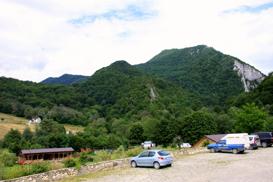 A little mountain towers above the campsite