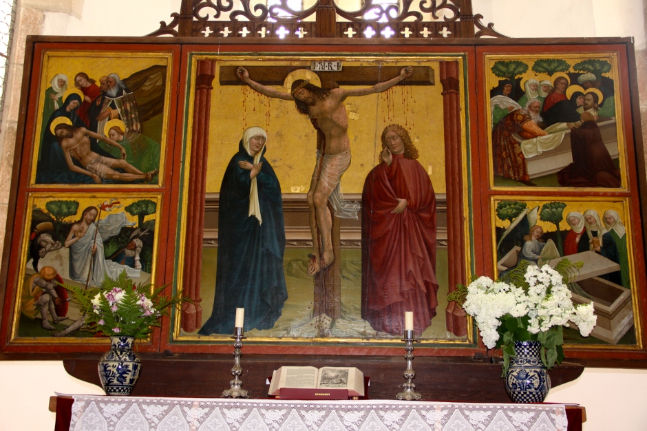 Old Gothic Triptych on the altar at Prejmer