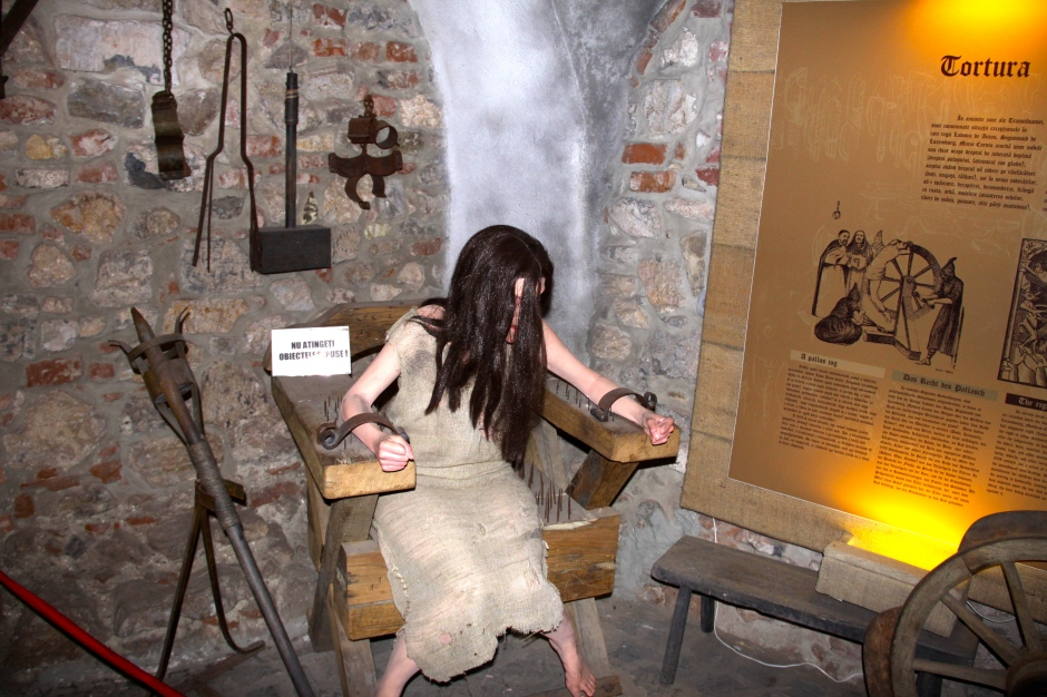 A spiked chair - part of an exhibit of torture implements used in the castle