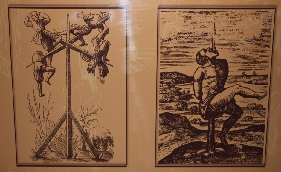 Impaling was a popular form of torture (and of making a point) in Romania. Vlad the Impaler was particularly prolific in using it to send a message to his enemies. Victims could suffer for days before death finally relieved them of the pain.