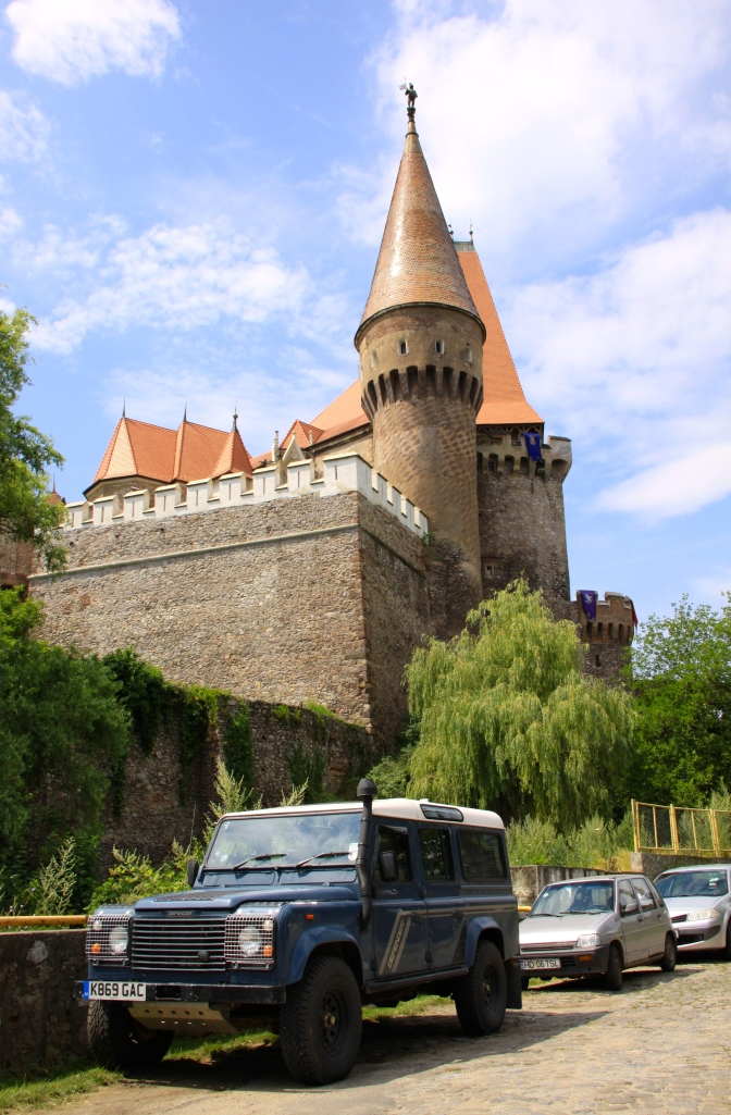 The Defender improves the view of the rear of Corvinesti Castle