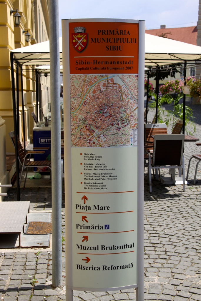 One of the tourist information signs that are scattered around the old town