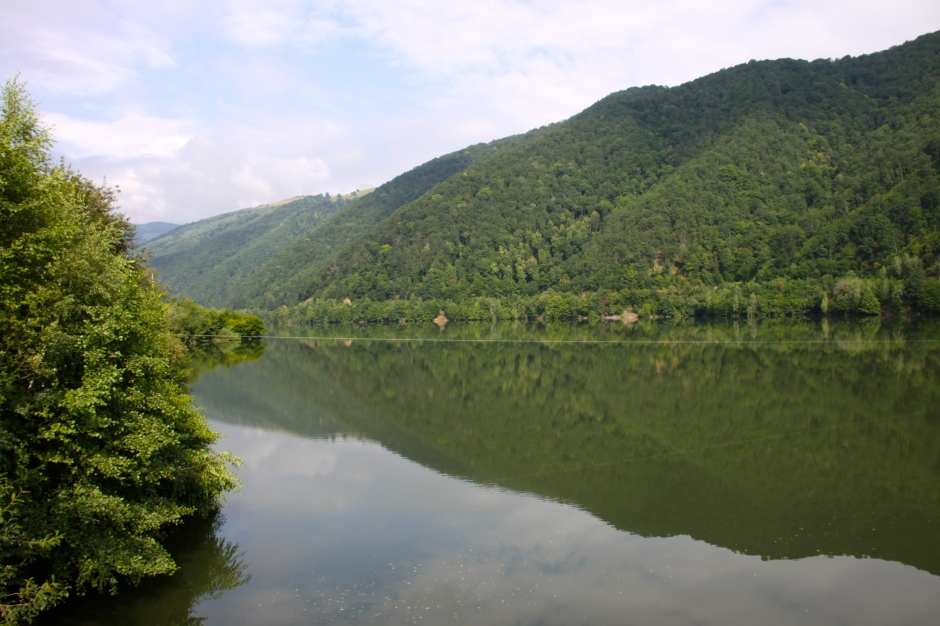 The reservoir behind the dam
