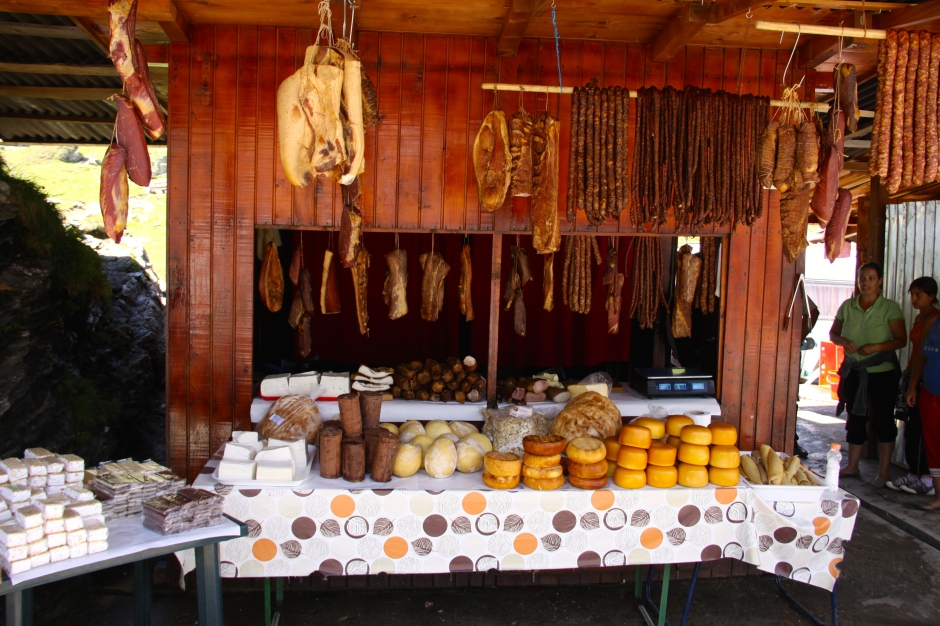 Meats and cheeses for sale at one of the stalls