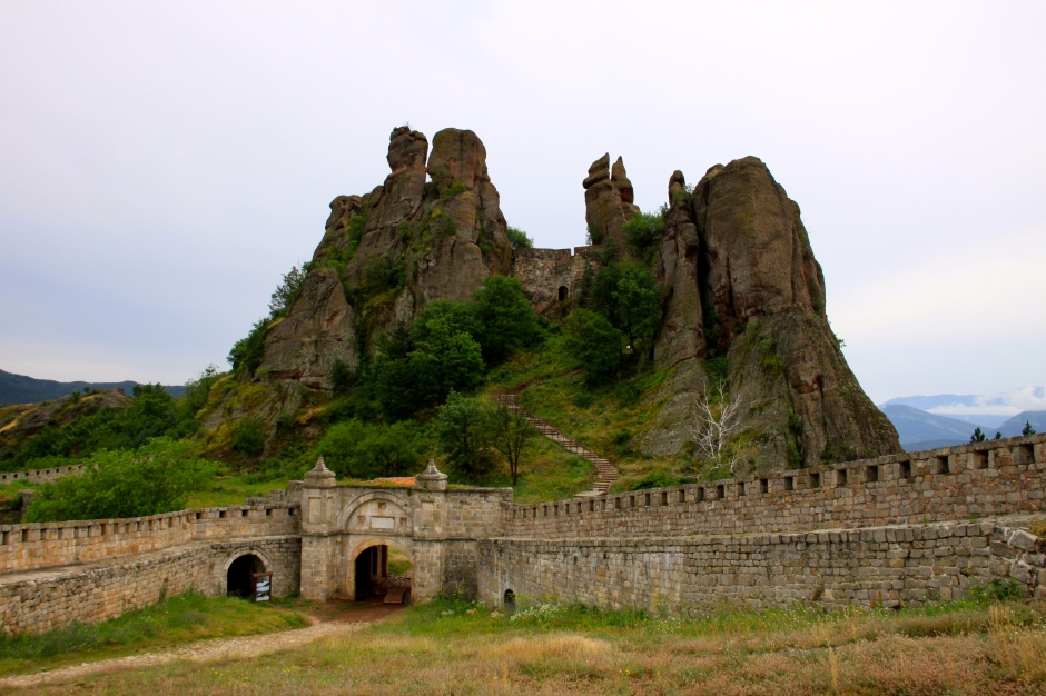 The original fortress in the rock formation, viewed from within the later fortress extension below