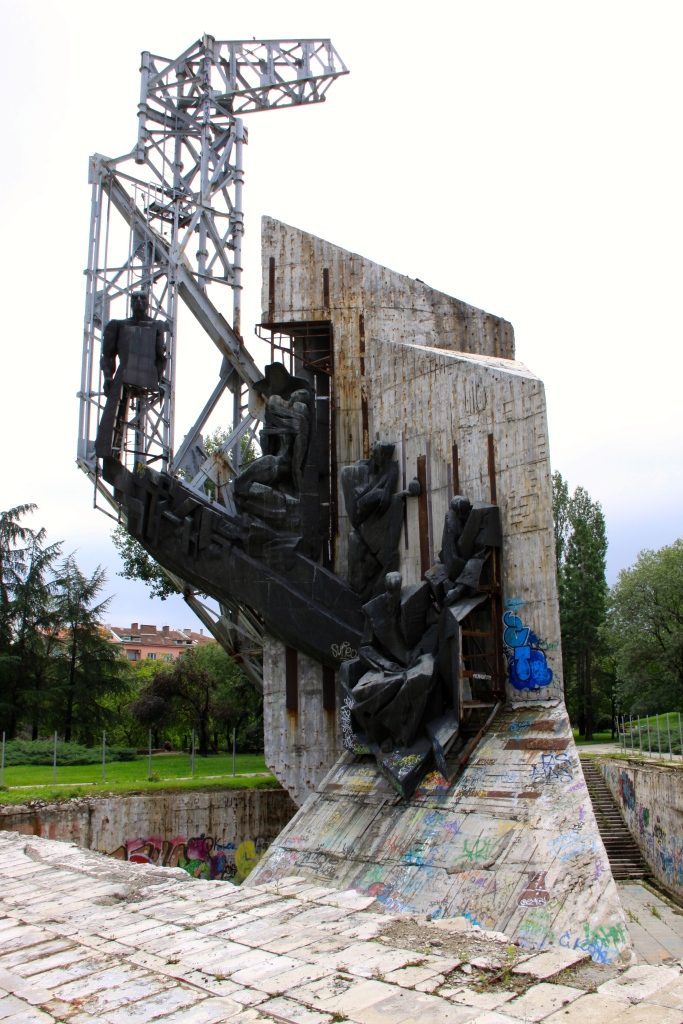 Strange sculpture that has been taken over by graffiti