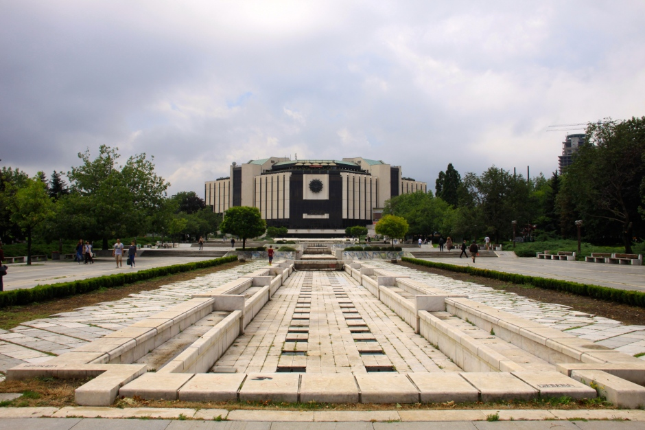 The park leading to the National Palace of Culture. The pond and fountains have seen better days!