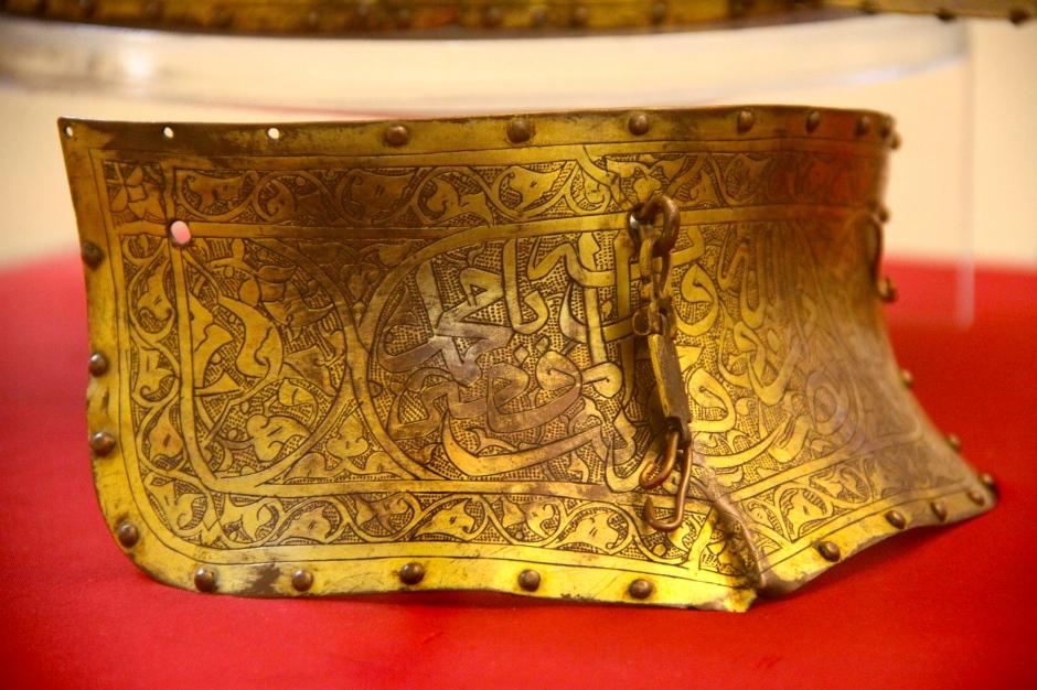 Face-shield for bronze gilt Turkish ceremonial helmet (15th - 16th century)