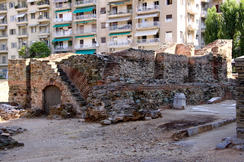 The remains of a two-storied cistern that stored water for the baths in the palace