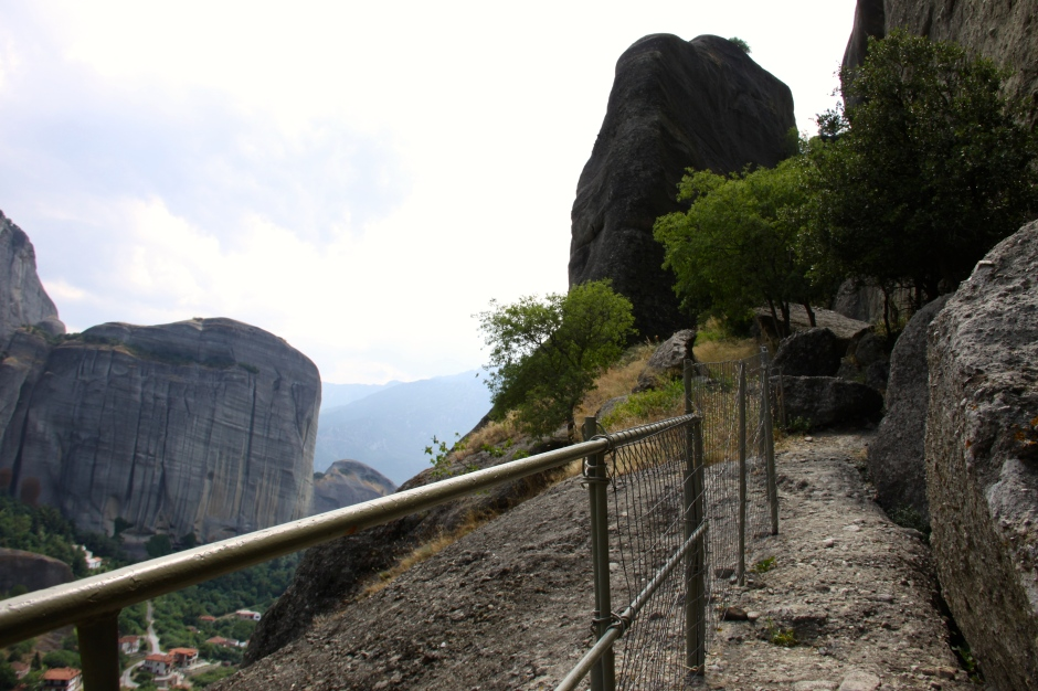 There's another railing/fence here to prevent walkers falling off the boulder!