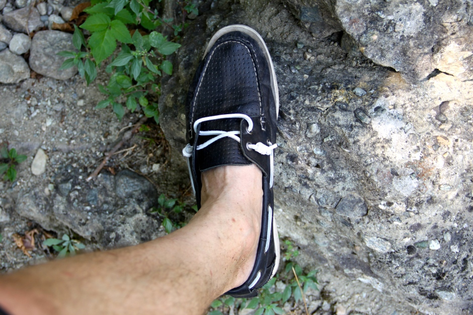 Boat shoes - not the best for climbing rocks!