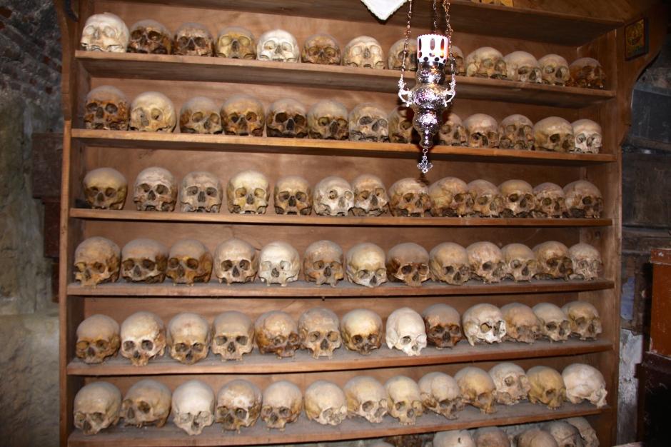 A small ossuary inside the Monastery of Megalo Meteoro