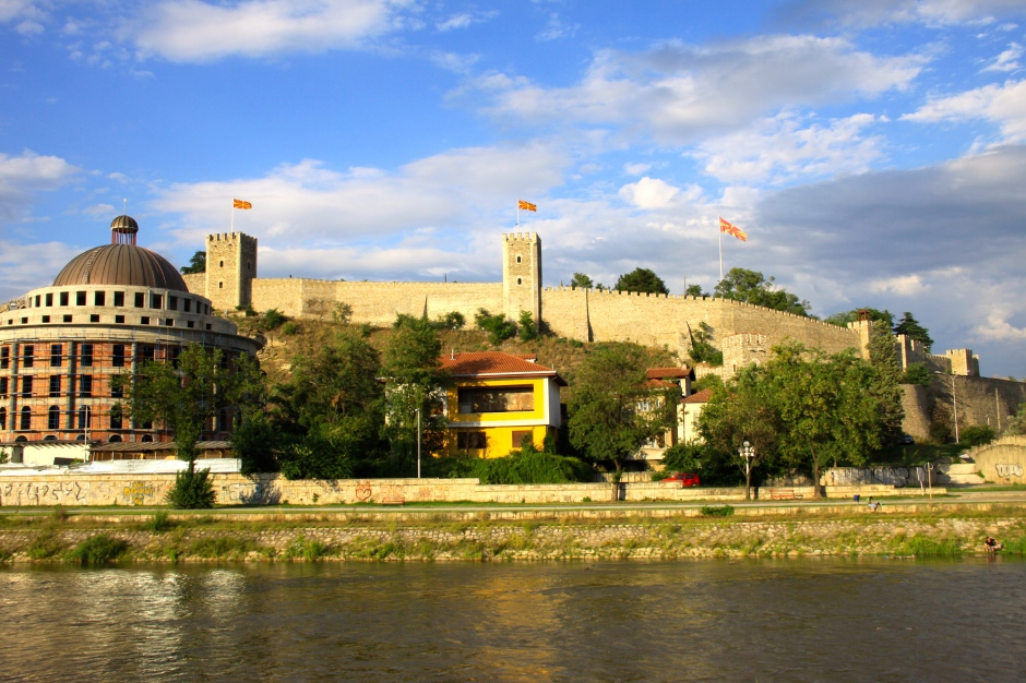 Skopje Fortress with the 'Water Supply' building at left (under renovation)