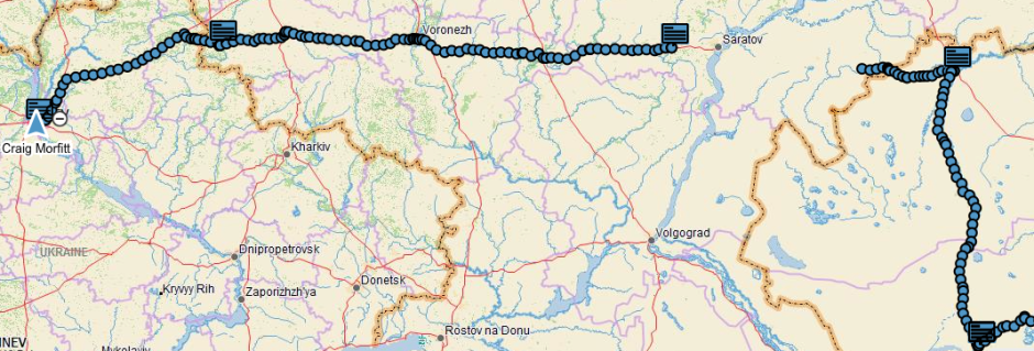 My GPS track from Oral, Kazakhstan (top right) to Kiev, Ukraine (top left). The rectangular boxes denote overnight stays. The gap in the track near Saratov is due to the batteries dying on the DeLorme inReach device