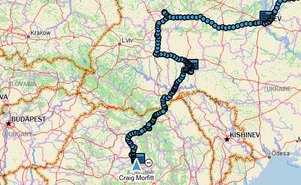 GPS plot of route from Kiev to Sighisoara over two days
