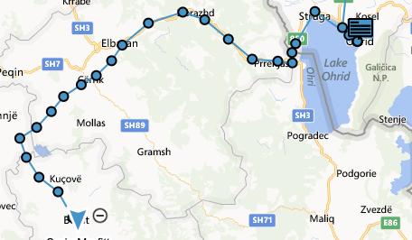 Today's GPS track from Ohrid (Macedonia) to Berat (Albania)