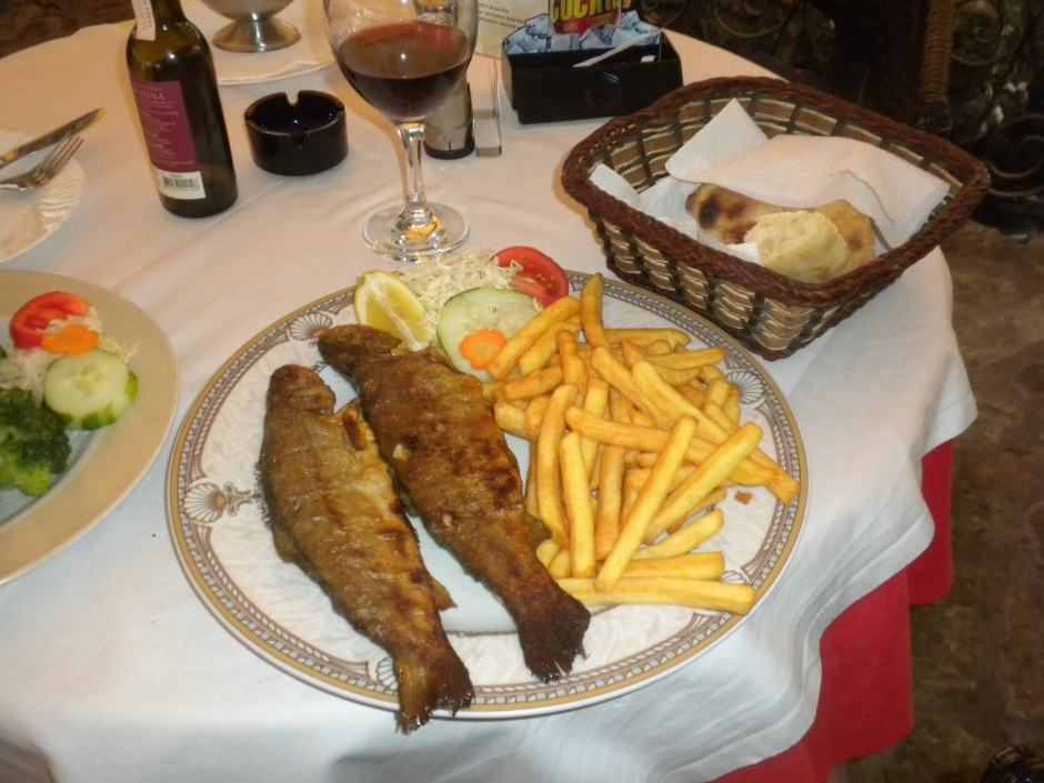Fish and chips - Travnik style (two whole fresh trout), and a side order of broccoli.