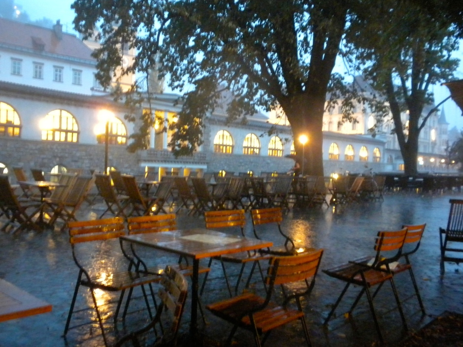 The riverside cafes were washed out by heavy rain last nigt